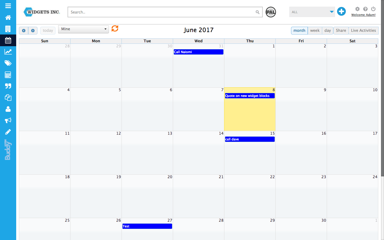 Showing activities in your calendar in BuddyCRM