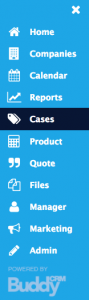cases menu item shown in Buddy bar of BuddyCRM