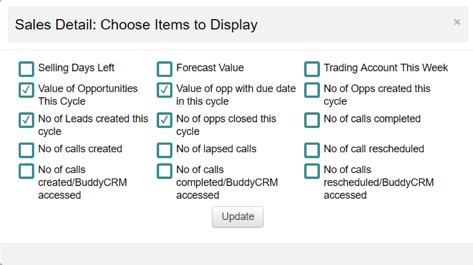 choose the columns to display in your overview section on the BuddyCRM home page