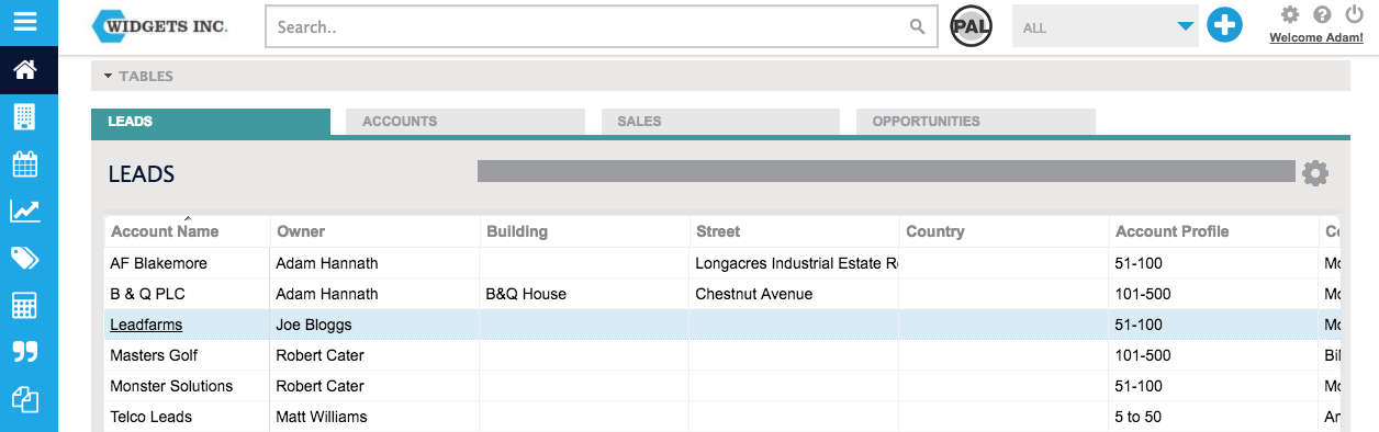 Click on a company name shown in a table or widget to access their record card in BuddyCRM