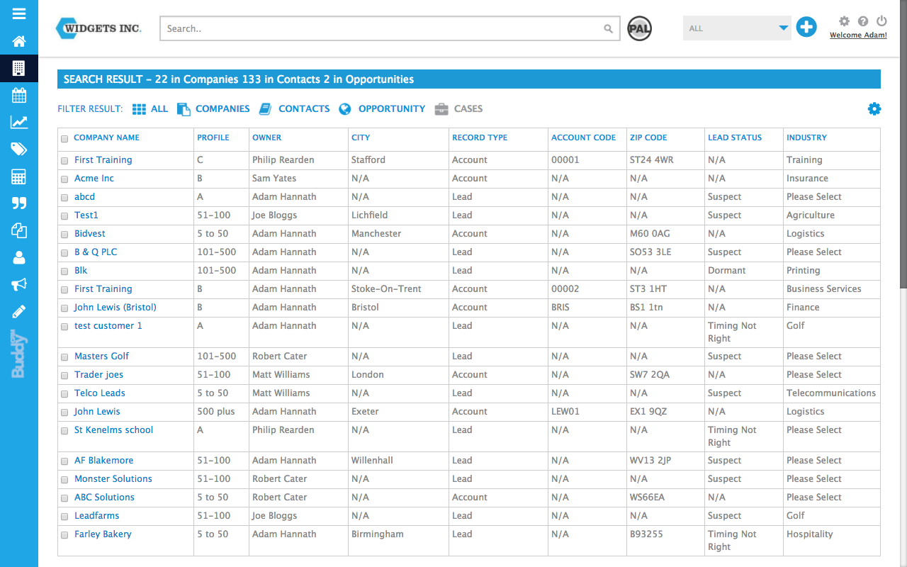 companies shown in search results in BuddyCRM