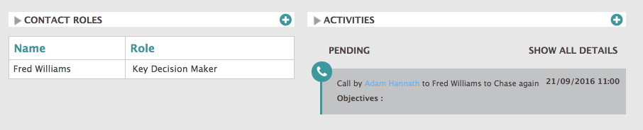 shows contact role added to a contact in opportunity screen of BuddyCRM