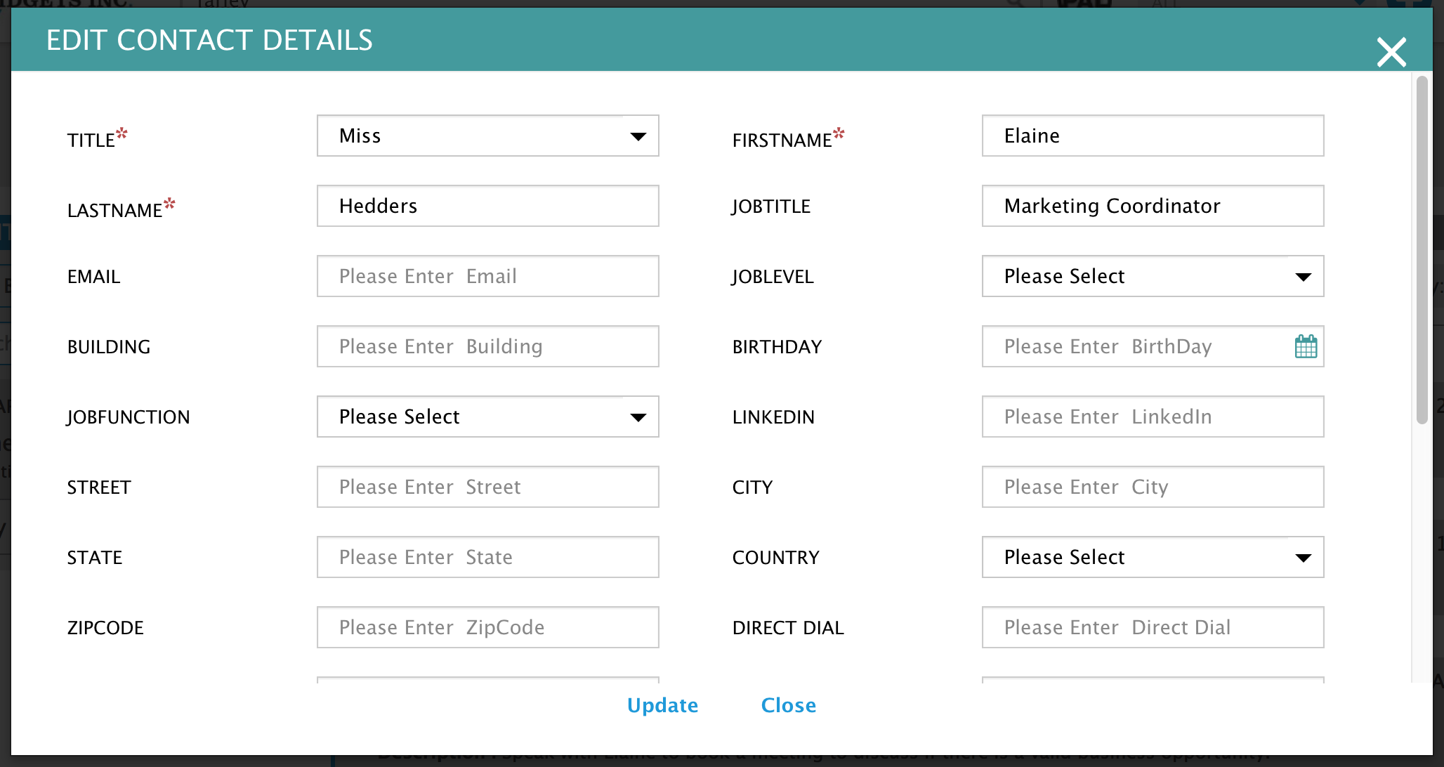 edit the details of an existing contact on BuddyCRM