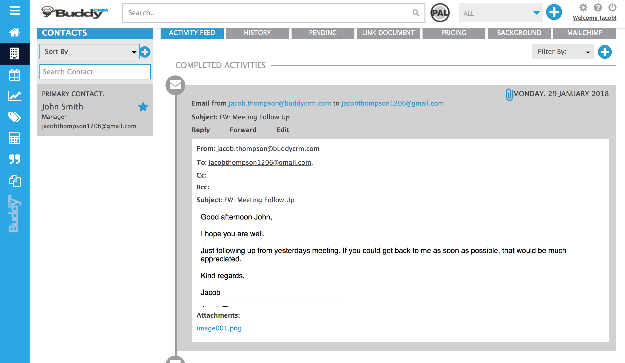 screenshot of an email in the activities time line of BuddyCRM