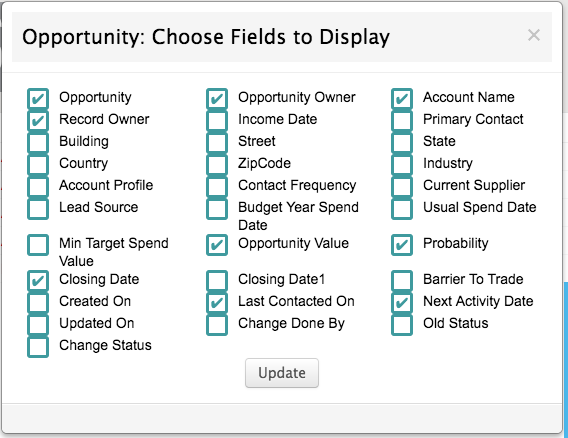 select the fields to display in the opportunities table on the home page of BuddyCRM