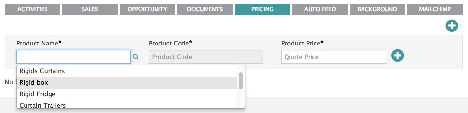 pricing tab shown on the record screen of an account in BuddyCRM