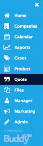 quotes menu item shown on the buddy bar in BuddyCRM
