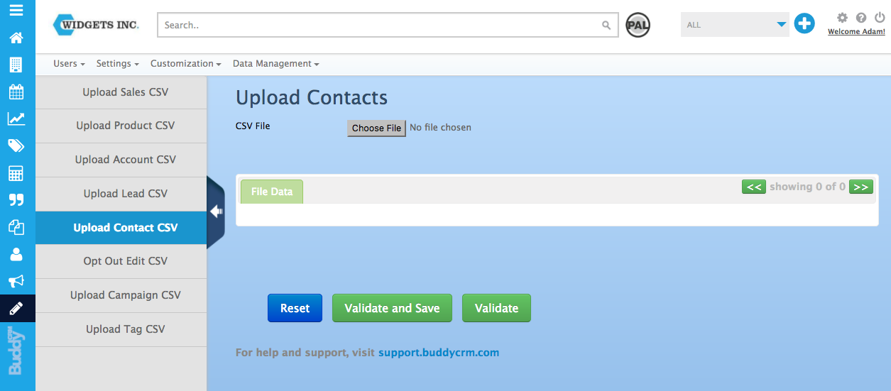 upload contacts in the admin section of BuddyCRM