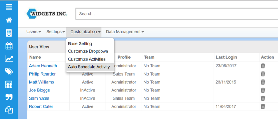 select auto schedule activity menu item in BuddyCRM